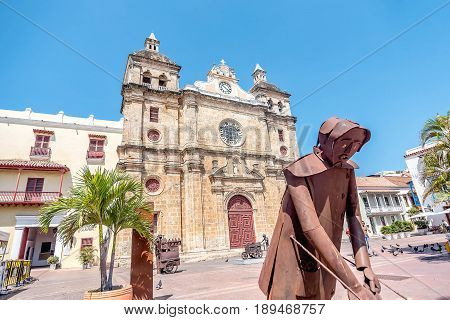 Cartagena, Colombia- March 2, 2017: Church of San Pedro Claver in old town Cartagena Colombia