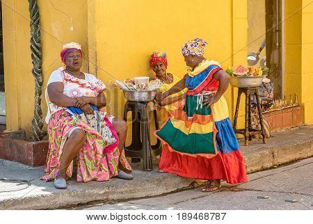 Cartagena, Colombia- March 2, 2017: Fruit street vendors in Cartagena Colombia