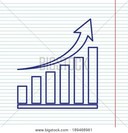 Growing graph sign. Vector. Navy line icon on notebook paper as background with red line for field.
