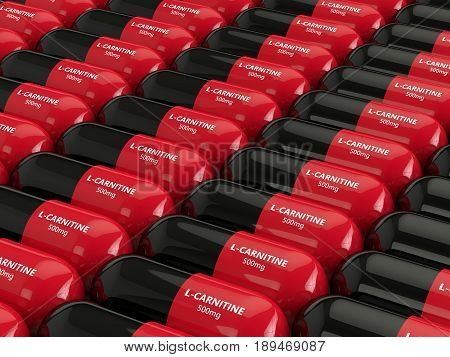 3D Render Of L-carnitine Pills In Row