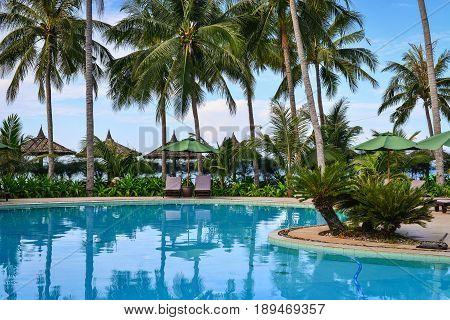 Swimming Pool Of Luxury Resort In Vietnam