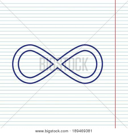 Limitless symbol illustration. Vector. Navy line icon on notebook paper as background with red line for field.