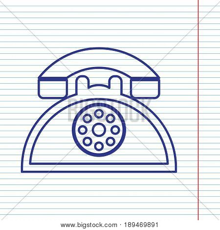 Retro telephone sign. Vector. Navy line icon on notebook paper as background with red line for field.