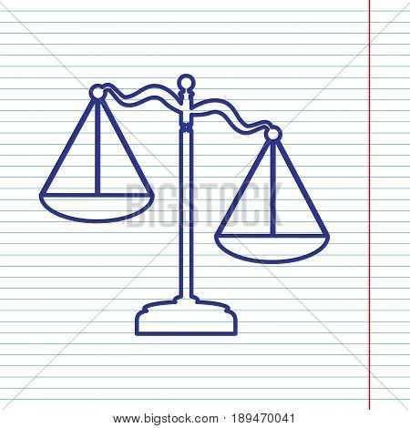 Scales of Justice sign. Vector. Navy line icon on notebook paper as background with red line for field.