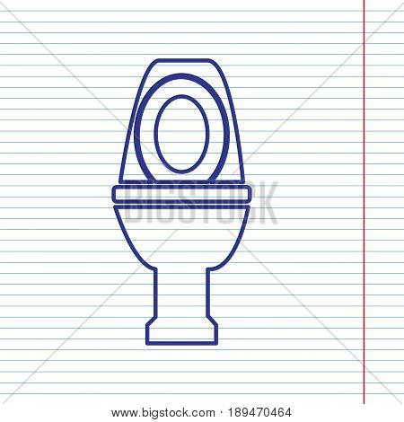 Toilet sign illustration. Vector. Navy line icon on notebook paper as background with red line for field.