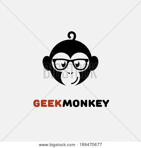 Geek logo design template with monkey in glasses. Vector illustration.
