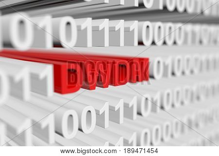 DWDM as a binary code with blurred background 3D illustration