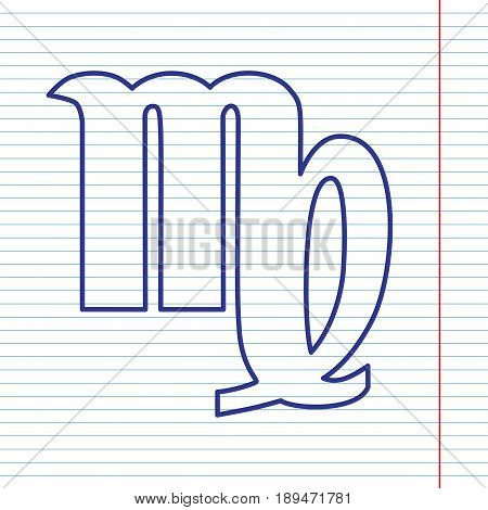 Virgo sign illustration. Vector. Navy line icon on notebook paper as background with red line for field.