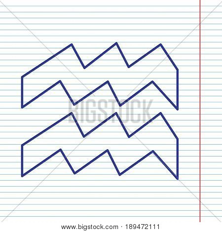 Aquarius sign illustration. Vector. Navy line icon on notebook paper as background with red line for field.