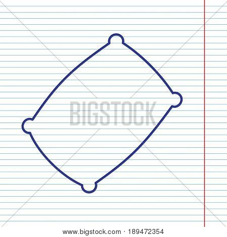Pillow sign illustration. Vector. Navy line icon on notebook paper as background with red line for field.