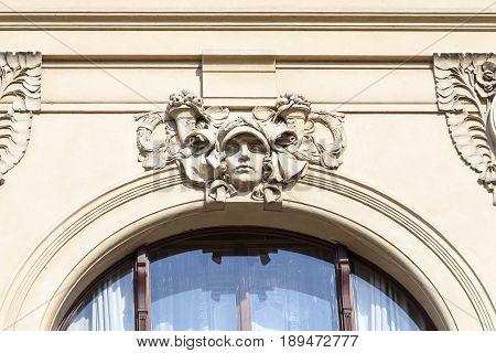Municipal House relief facade Prague Czech Republic