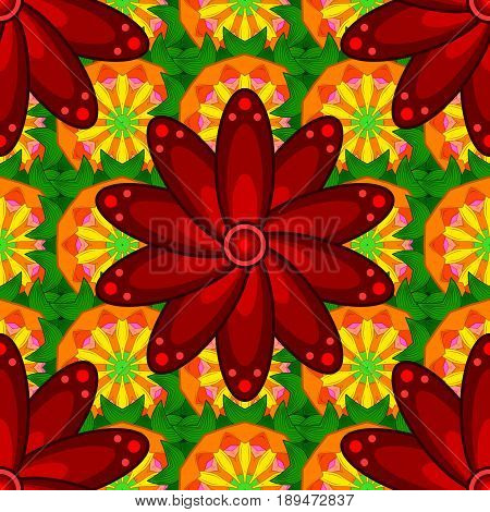 Vector floral pattern for wedding invitations greeting cards scrapbooking print gift wrap manufacturing fabric textile. Elegant seamless pattern with decorative flowers in red and yellow colors.