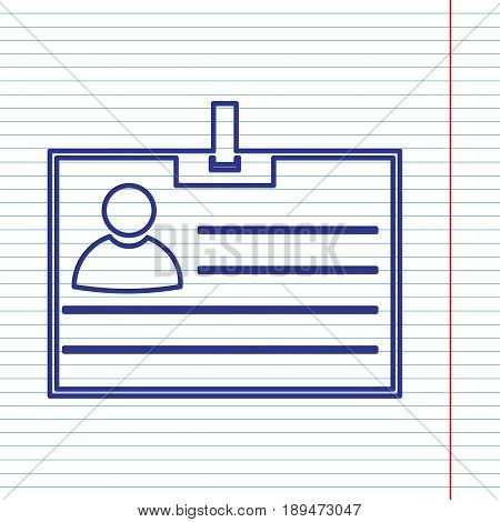 Id card sign. Vector. Navy line icon on notebook paper as background with red line for field.