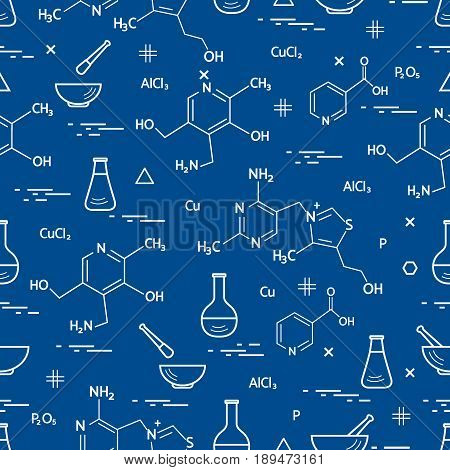Seamless Pattern With Variety Scientific, Education Elements: Flask, Formula, Pestle And Other.
