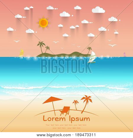 Beautiful beach with white sand wave of sea sailboat and sunrays. Text for travel agents. Summer offers Vector illustration