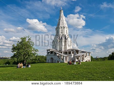 Recreation in the Kolomenskoye Museum-Reserve, near the Ascension Church in spring, Moscow, Russia