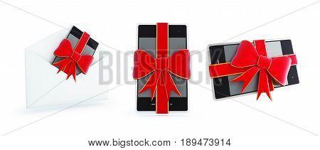 Gift phone set on a white background 3D illustration