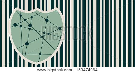 Buyer protection. Internet payments security. Bar code and shield. Vector illustration