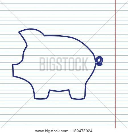 Pig money bank sign. Vector. Navy line icon on notebook paper as background with red line for field.