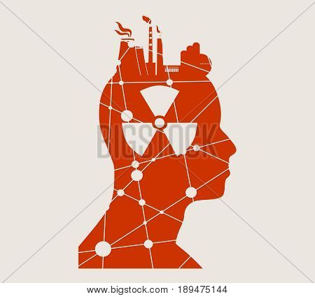 Head with factory for brain. Heavy industry and atom energy. Vector illustration. Nuclear danger symbol