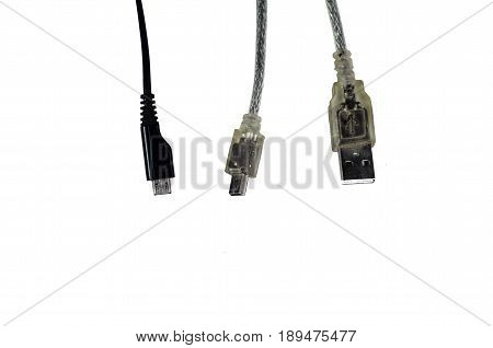 Usb, Mini-usb And Micro-usb Connectors Isolated On White