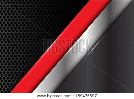 Abstract red silver gray line on circle mesh design modern background texture vector illustration.