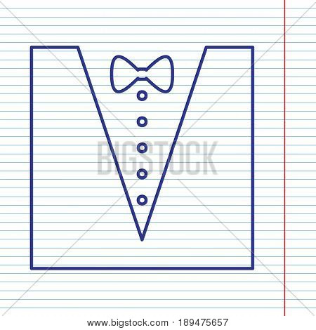 Tuxedo with bow silhouette. Vector. Navy line icon on notebook paper as background with red line for field.