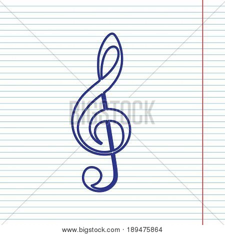 Music violin clef sign. G-clef. Treble clef. Vector. Navy line icon on notebook paper as background with red line for field.