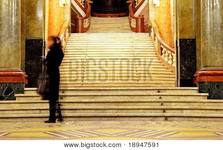 old stairs in Sofia university leading to Aula Magma