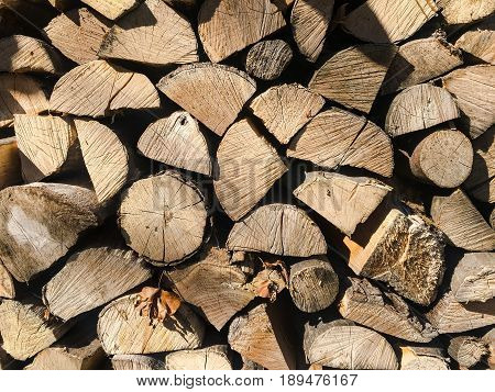 Pile of firewood. Stack of chopped tree logs nature background texture. Firewood stacked. Chipped organic firewood. Organic Background.