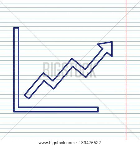 Growing bars graphic sign. Vector. Navy line icon on notebook paper as background with red line for field.