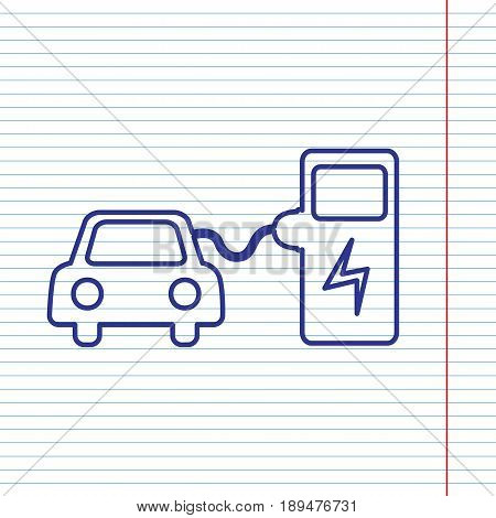 Electric car battery charging sign. Vector. Navy line icon on notebook paper as background with red line for field.