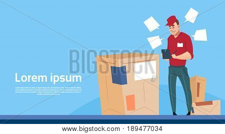 Courier Man Use Tablet Box Delivery Package Post Service Banner Copy Space Flat Vector Illustration