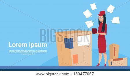 Courier Woman Use Tablet Box Delivery Package Post Service Banner Copy Space Flat Vector Illustration