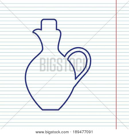 Amphora sign illustration. Vector. Navy line icon on notebook paper as background with red line for field.
