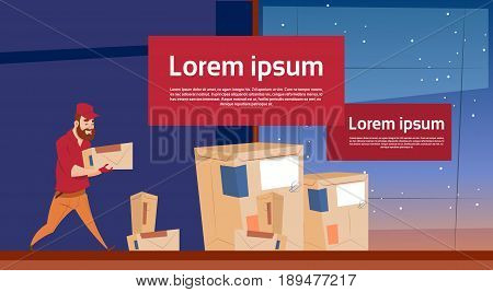 Courier Man Carry Box Delivery Package Post Service Banner Copy Space Flat Vector Illustration