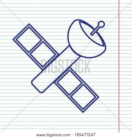 Satellite sign illustration. Vector. Navy line icon on notebook paper as background with red line for field.