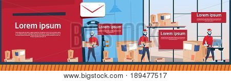 Courier Robots Carry Boxes Delivery Package Post Service Warehouse Interior Banner Copy Space Flat Vector Illustration
