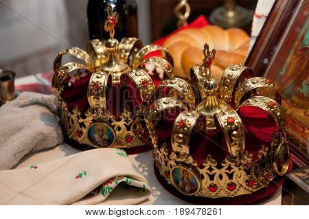 Two crowns the weddings intended for ceremony in orthodox church.