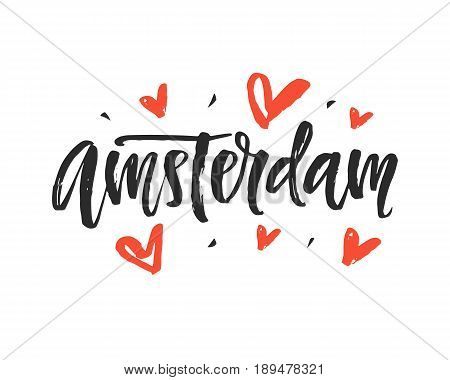 Amsterdam. Modern city hand written brush lettering, isolated on white background. Ink calligraphy. Capital of Holland. Tee shirt print, typography postcard, poster design. Vector illustration.