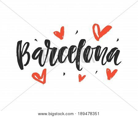 Barcelona. Modern city hand written brush lettering, isolated on white background. Ink calligraphy. Tee shirt print, typography card, poster design. Vector illustration.