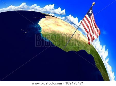 Liberia national flag marking the country location on world map. 3D rendering, parts of this image furnished by NASA