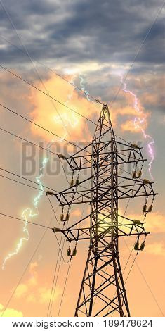 Power Transmission Line with Lightning Striking Electricity Tower against of dramatic sky.