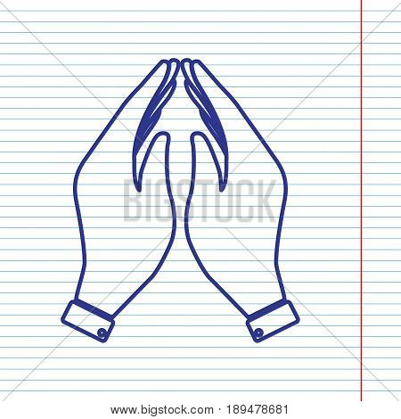 Hand icon illustration. Prayer symbol. Vector. Navy line icon on notebook paper as background with red line for field.