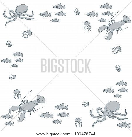 Interesting Picture With The Various Inhabitants Of The Seas And Oceans