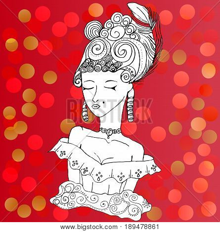 Vector rococo doodle girl wearing big hairstyle and shoulder open dress. Lady on red party background.