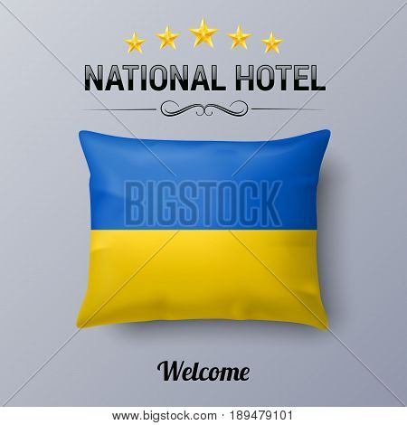 Realistic Pillow and Flag of Ukraine as Symbol National Hotel. Flag Pillow Cover with Ukrainian flag