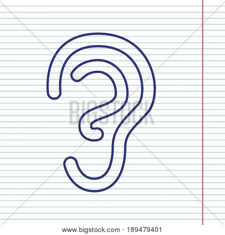 Human anatomy. Ear sign. Vector. Navy line icon on notebook paper as background with red line for field.