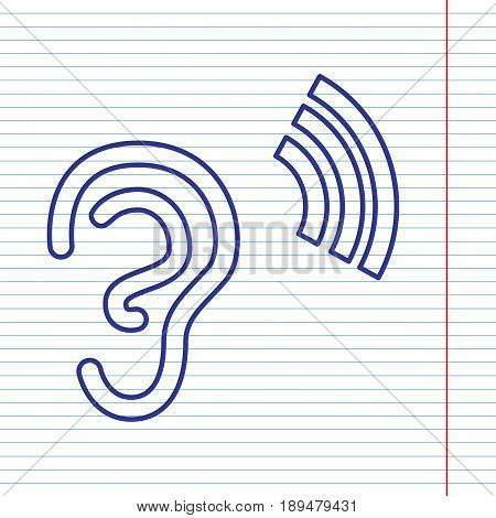 Human anatomy. Ear sign with soundwave. Vector. Navy line icon on notebook paper as background with red line for field.