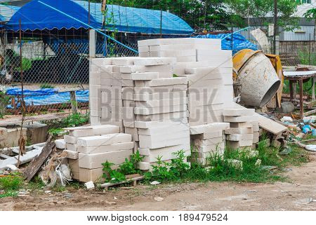 Stack Of Autoclaved Aerated Concrete Masonry Units In Construction Site